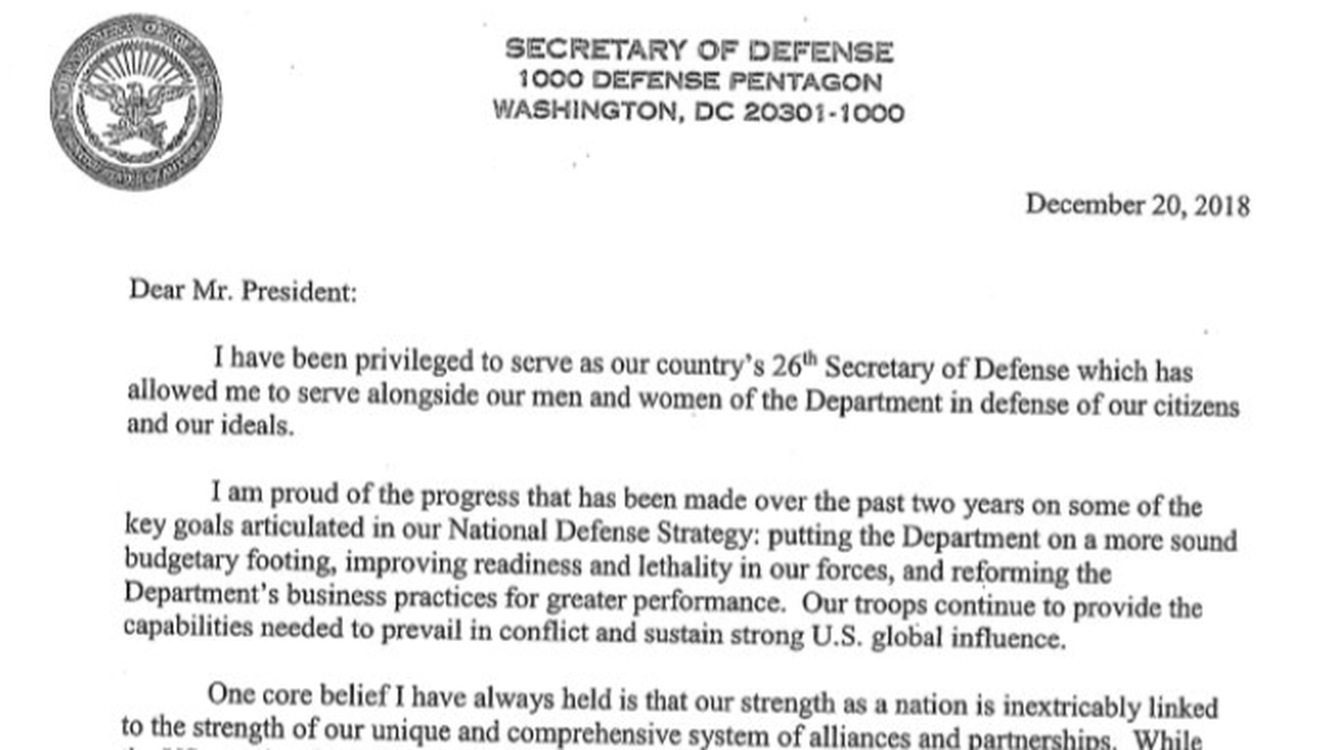 Mattis resignation letter lists ways he was \