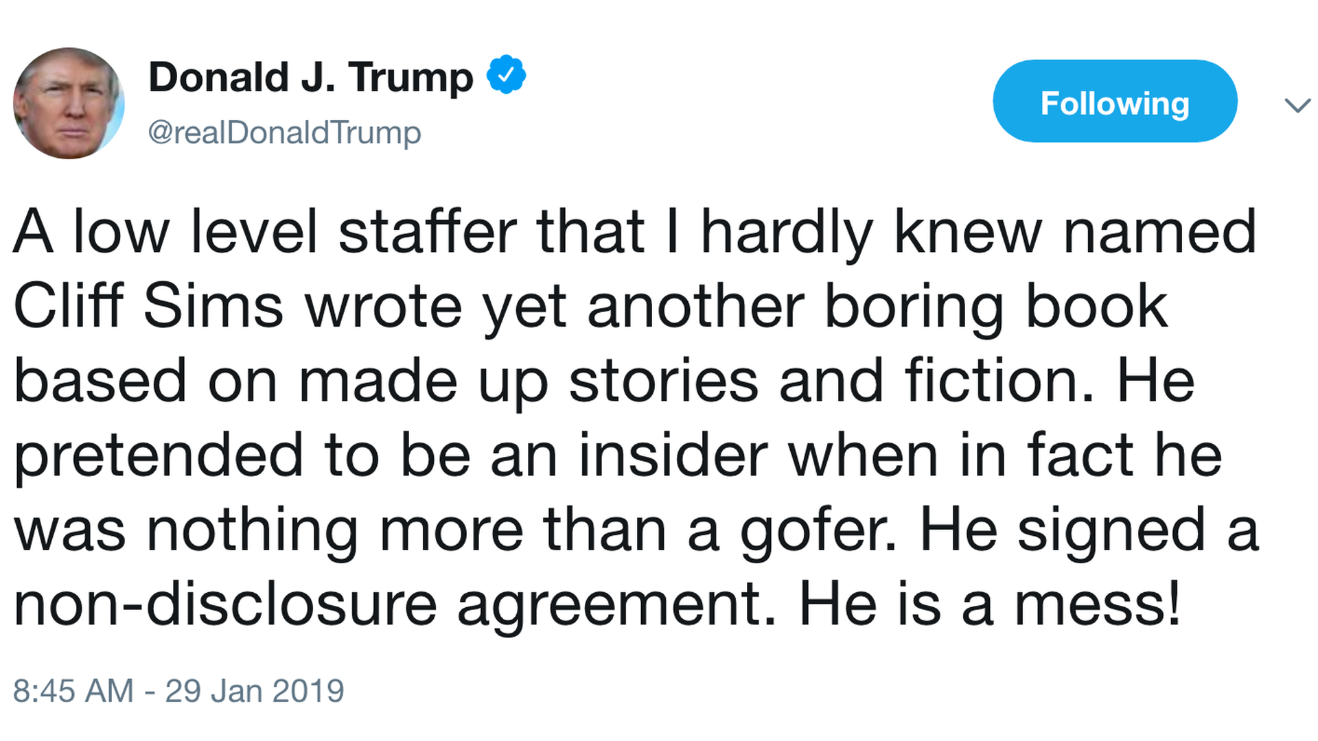 d2977a1e74bf Trump disavows former White House staffer Cliff Sims on release date of his  insider memoir