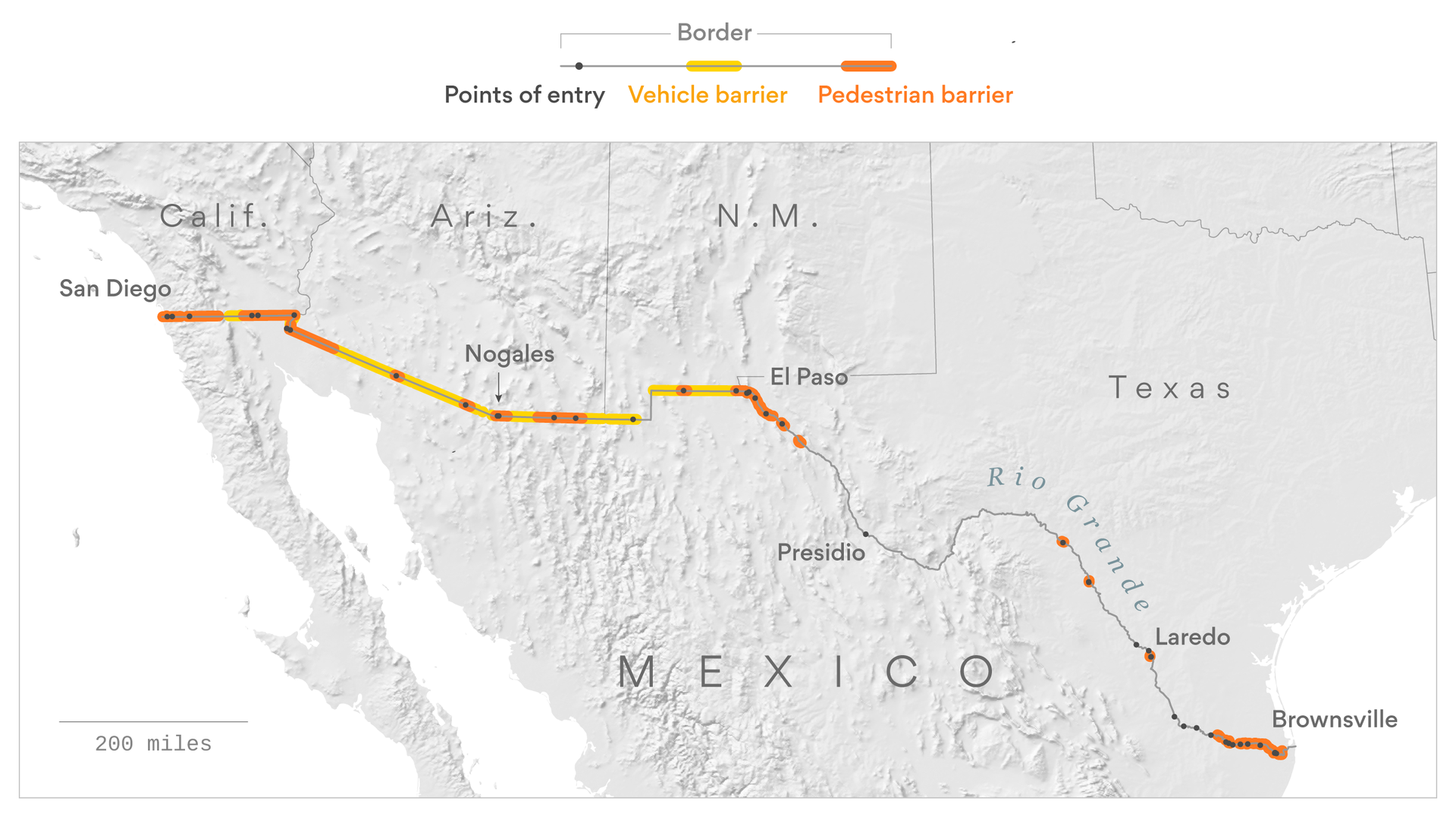 Map: How much of the U.S.-Mexico southern barrier has already been ...